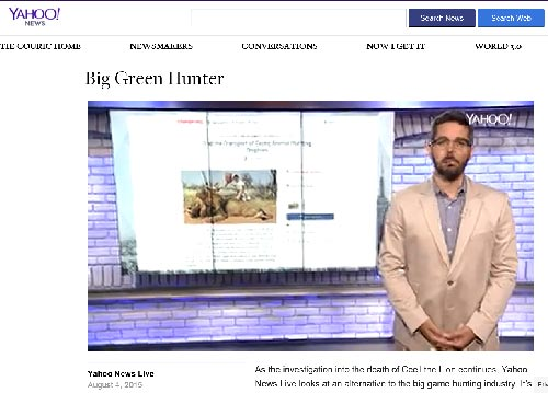Yahoo News Live reports on the benefits of Conservation Based Hunting